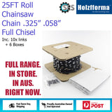 25ft Chainsaw Chain Roll .325'' Pitch .058'' Full Chisel