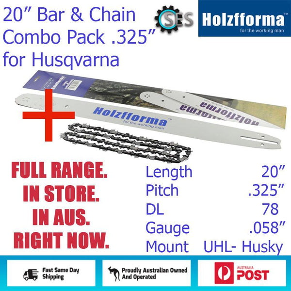 "20"" Holzfforma CHAINSAW BAR & CHAIN COMBO .325"" DL78  (.058"") for Husqvarna + Others"