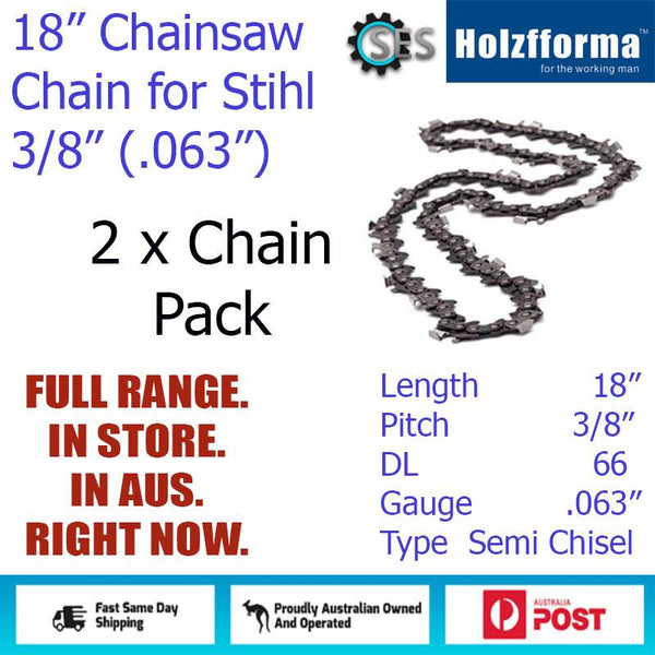 "2 x 18"" Holzfforma CHAINSAW CHAIN  3/8"" (.063"") 66DL Semi Chisel for Stihl"