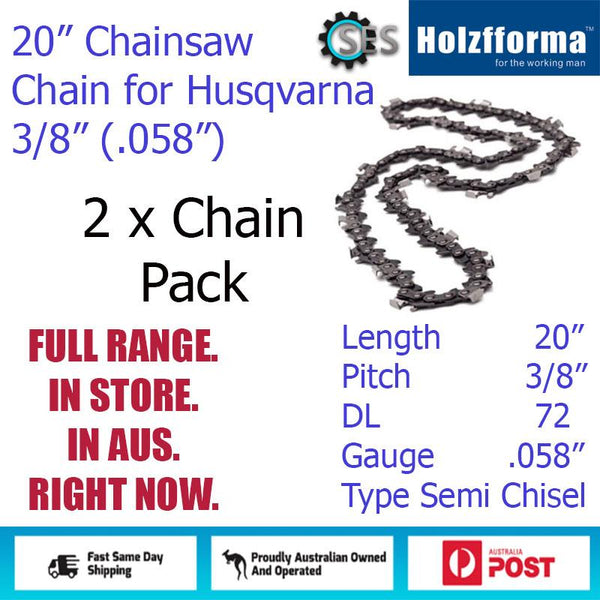 "2 x 20"" Holzfforma CHAINSAW CHAIN  3/8"" (.058"") 72DL Semi Chisel for Husqvarna"