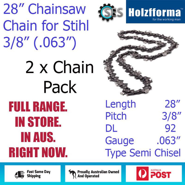 "2 x 28"" Holzfforma CHAINSAW CHAIN  3/8"" (.063"") 92DL Semi Chisel for Stihl"