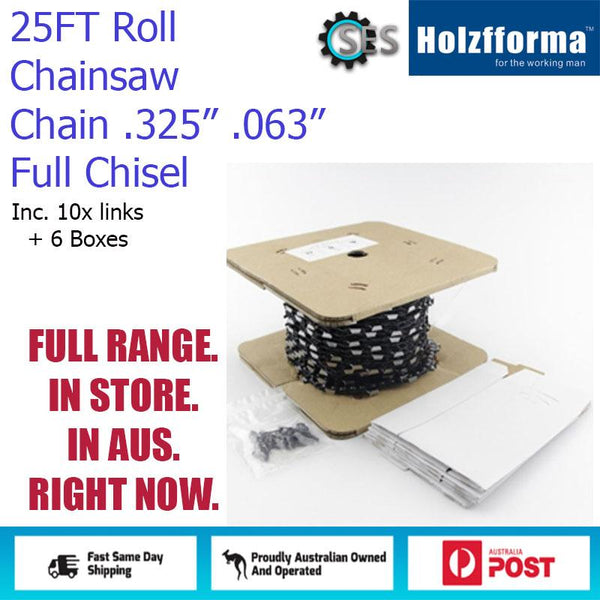 25ft Chainsaw Chain Roll .325'' Pitch .063'' Full Chisel