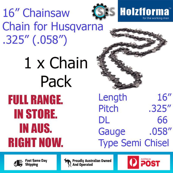 "1 x 16"" Holzfforma CHAINSAW CHAIN  .325"" (.058"") 66DL Semi Chisel for Husqvarna Jonsered etc."