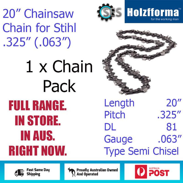 "1 x 20"" Holzfforma CHAINSAW CHAIN  .325"" (.063"") 81DL Semi Chisel for Stihl"
