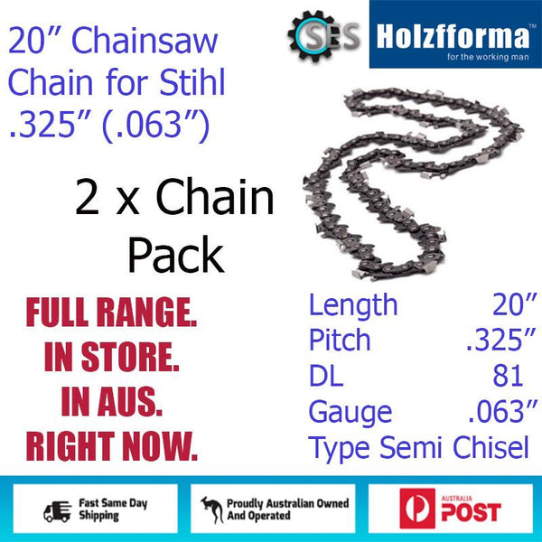 "2 x 20"" Holzfforma CHAINSAW CHAIN  .325"" (.063"") 81DL Semi Chisel for Stihl"