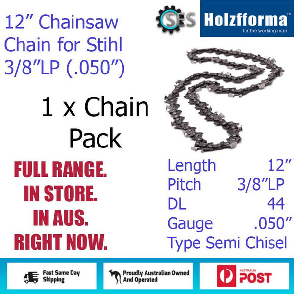 "1 x 12"" Holzfforma CHAINSAW CHAIN 3/8""LP (.050"") 44DL Semi Chisel for Stihl"