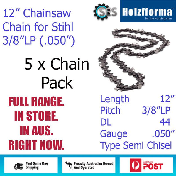 "5 x 12"" Holzfforma CHAINSAW CHAIN 3/8""LP (.050"") 44DL Semi Chisel for Stihl"
