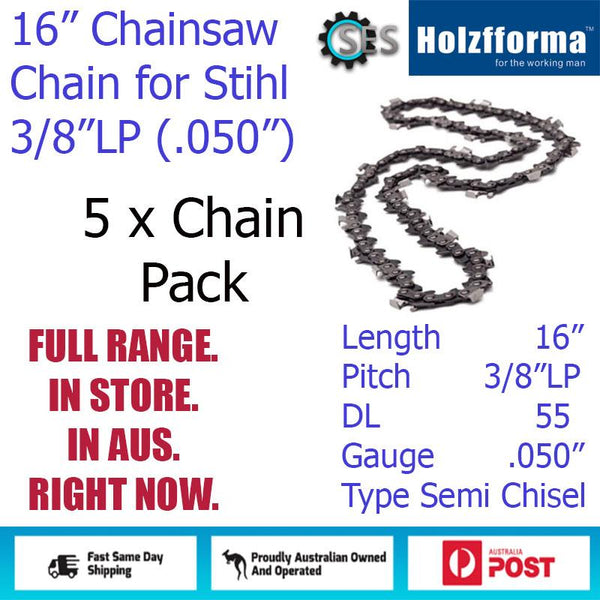 "5 x 16"" Holzfforma CHAINSAW CHAIN 3/8""LP (.050"") 55DL Semi Chisel for Stihl"