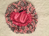 Marie Regular Sized Satin Bonnet ( Hot Pink Trim)
