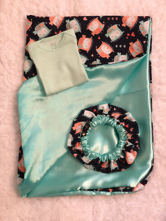 Bonnie's Bundle Newborn Satin Bundle Owls (Turquoise Bodysuit)