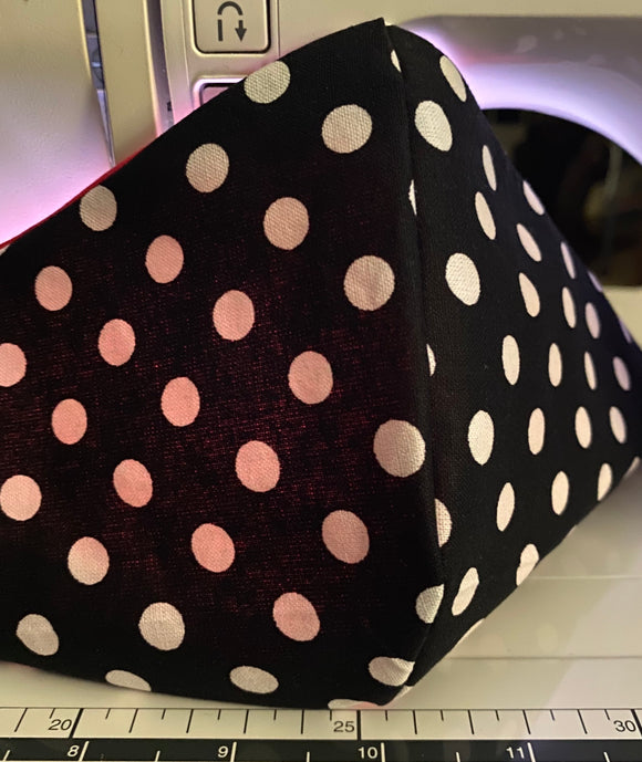 Black and White Polka Face Mask