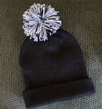 Black Satin Lined Beanie with Pom Too