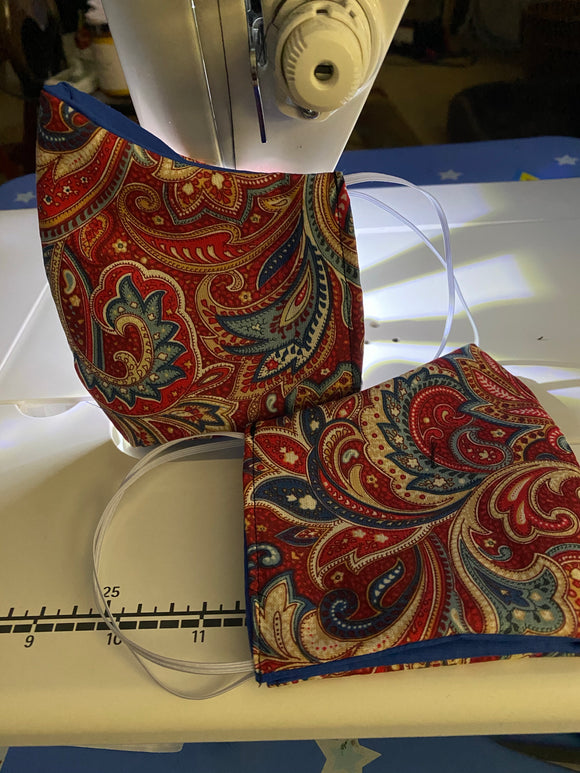 Red & Blue Paisley Face Mask with Comfort Strap