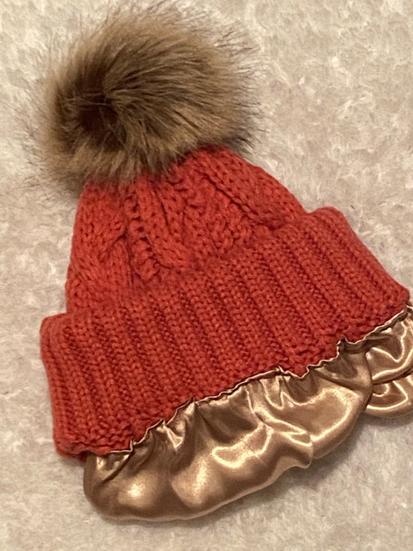 Coral Rose Satin Lined Cable Knit Boggan with Pom