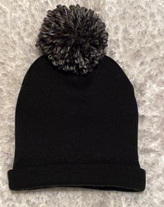 Black Satin Lined Beanie with Pom