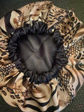 Wild Oversized Satin Bonnet Brown Trim