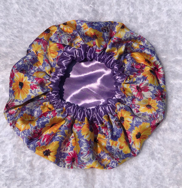 Lavender Spring Regular Sized Satin Bonnet