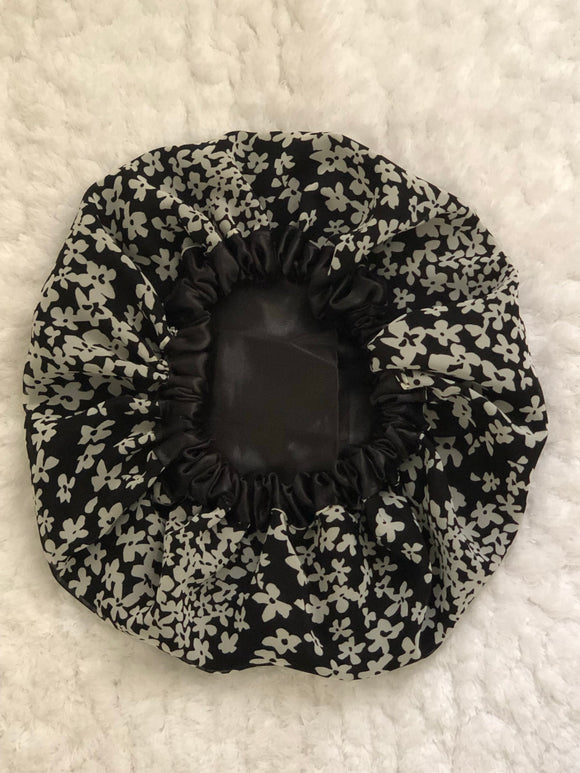 Black Simplicity Oversized Satin Summer Bonnet