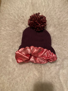 Dark Lilac Satin Lined Boggan with Pom