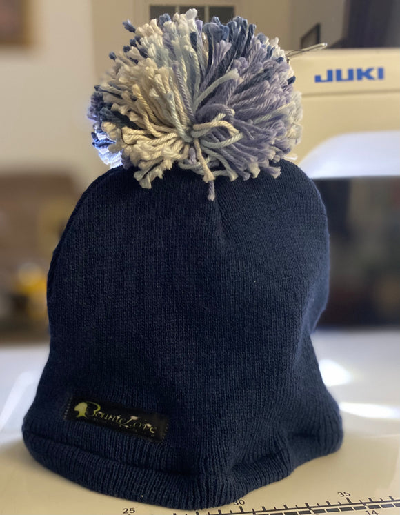 Kid's Satin Lined Navy Blue Beanie