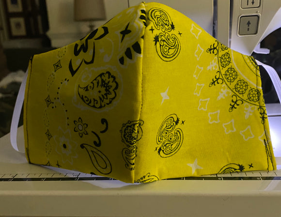Kid's Yellow Bandana Face Mask