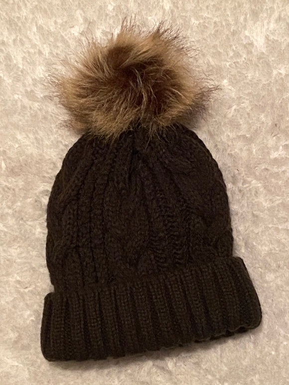 Olive Satin Lined Cable Knit Boggan with Pom
