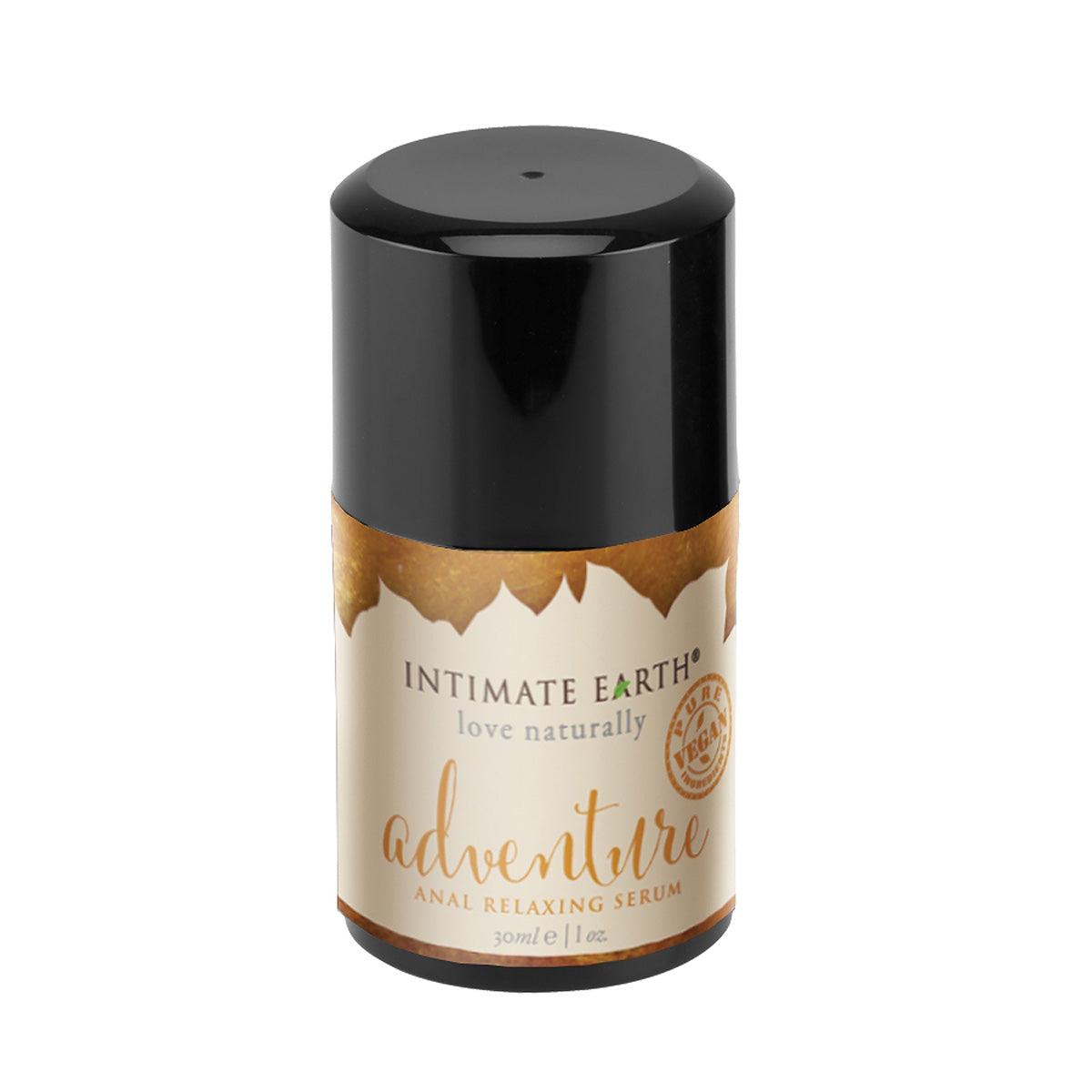 Intimate Earth's love naturally daring anal relaxing serum for men, 1 once, bottle is dark brown, almost black