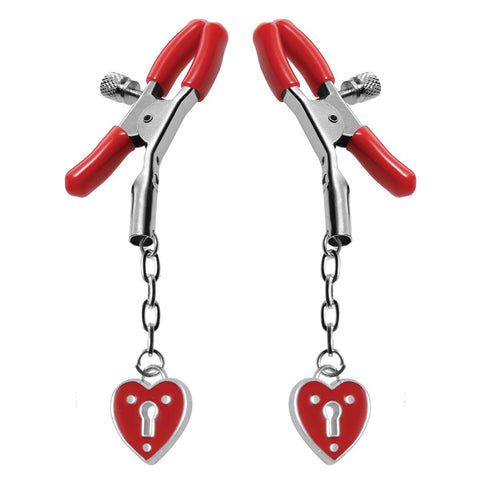 XR Brands Heart Padlock Nipple Clamps