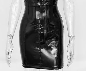 Jaz Women's High Waist Patent Leather Skirt