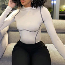 Load image into Gallery viewer, MILA Black Stitched Long Sleeve Bodysuit