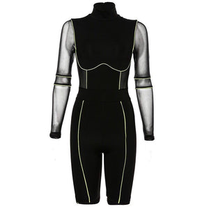 JOY Women's Sexy High Collar Mesh Jumpsuit