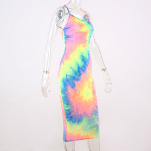 THEA Women's Backless Sleeveless Tie Dye Midi Dress