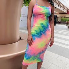 Load image into Gallery viewer, THEA Women's Backless Sleeveless Tie Dye Midi Dress