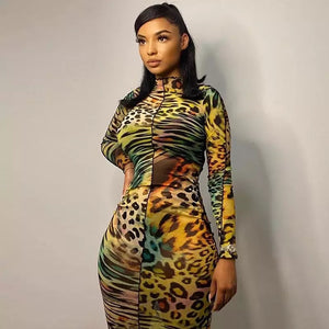 BRANDI Leopard Print Sheer Dress