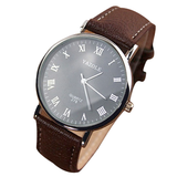 Luxury Fashion Faux Leather Mens Quartz Analog Watch Watches (Talla: 24CM, Color: Marrón) - Bestshopup