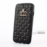 Rhombus 3D Crown Beading PU Leather Wallet Iphone Case - Bestshopup