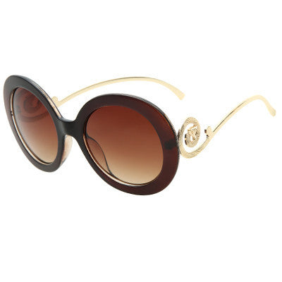 Women's Round Big Frame Fox Metal Temple Vintage Sunglasses - Bestshopup