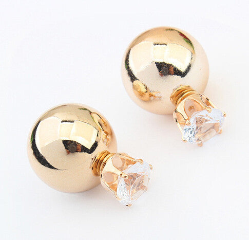 Gold Sliver Crystal Two Ball Pearls Stud Earrings - Bestshopup