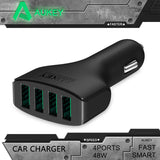 Aukey 48W/9.6A DC 12/24V 4 Ports USB Car Charger Adapter for Apple iPhone 5 6 6 plus iPad Android Samsung  Sony HTC Tablet PC - Bestshopup
