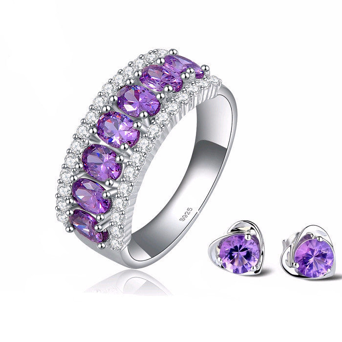 Women's Luxury Purple Zircon Clear CZ Micro Pave on Platinum Plated Ring - Bestshopup