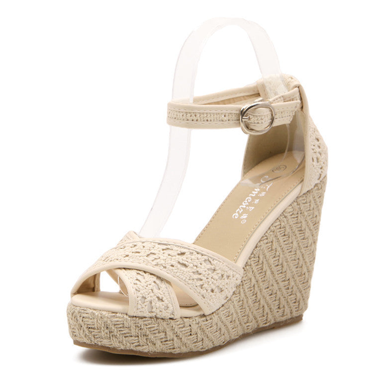 Women's Open Toe Twiner Knitted Bohemia High-Heeled Platform Wedges - Bestshopup