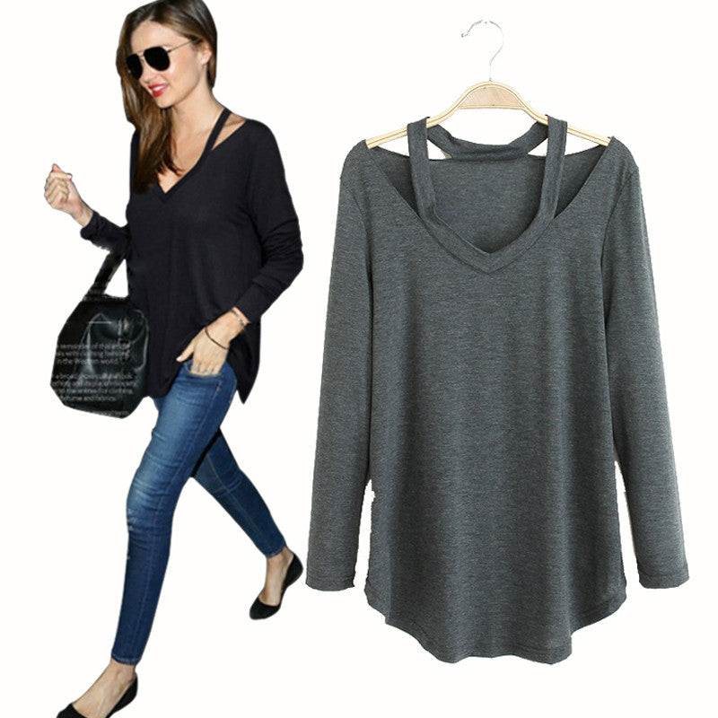 Women's Street Style Cut Out Long Sleeve Shirts - Bestshopup