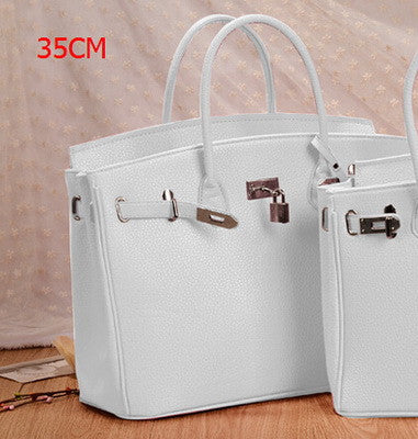 Women's Famous Brands Silver Lock Leather Shoulder Handbag Tote With Scarf - Bestshopup