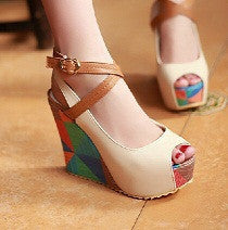 Women's European Platform Open Toe Ankle Straps Wedges - Bestshopup