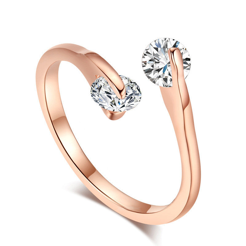 Women's Double Cubic Zircon Rock Adjustable 18K Silver/Rose Gold Plated Rings - Bestshopup