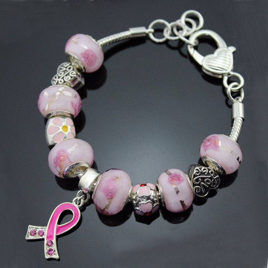 """Care For Breast Cancer"" Pink CZ Stone Ribbon Pendant Heart & Flower Charms  Bracelet - Bestshopup"