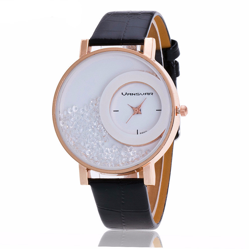 Women's Vansvar Leather Strap Rhinestone Casual Wrist Watch - Bestshopup