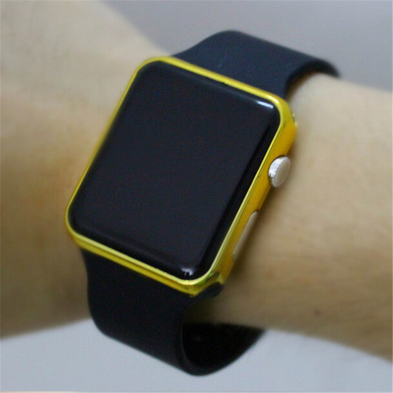 Men´s & Women's Square Mirror Face Silicone Band Digital LED Watch - Bestshopup