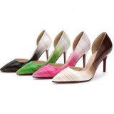 Women's Thin Spike Heel Shallow Opening Single Leather High Heels - Bestshopup