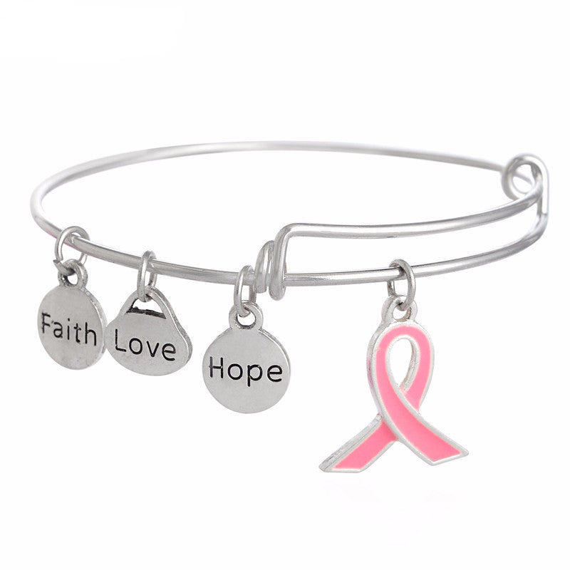 Women's Pink Ribbon Dangle Faith Love Hope Charms  Breast Cancer Awareness Bracelet - Bestshopup